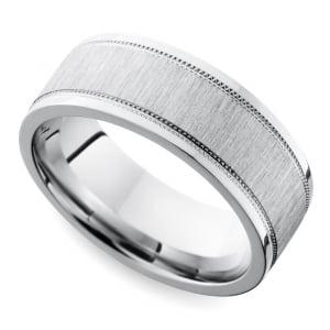 mixed finish step edge milgrain mens wedding ring in cobalt
