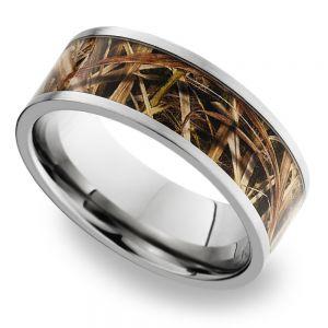 MossyOak SG Blades Inlay Men's Wedding Ring in Titanium