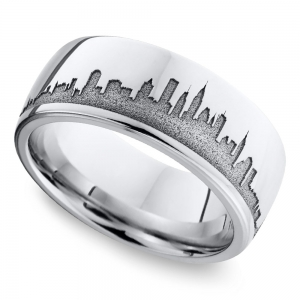 New York Skyline Men's Wedding Ring in Cobalt