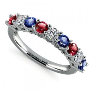 Nine Diamond & Gemstone Ring in White Gold