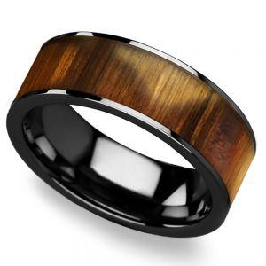 Olive Wood Inlay Men's Ring in Black Ceramic
