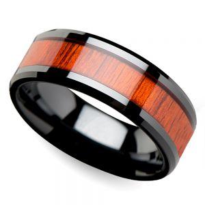 Tiger - Black Ceramic Mens Ring with Padauk Wood Inlay