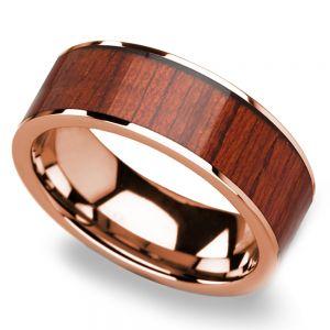 Padauk Wood Inlay Men's Wedding Band in Rose Gold