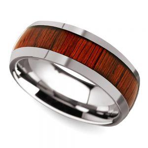 Padauk Wood Inlay Men's Domed Wedding Band in Tungsten