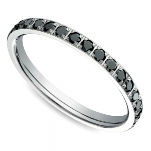Pave Black Diamond Eternity Ring in White Gold