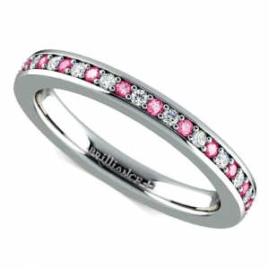 Pave Diamond & Pink Sapphire Eternity Ring in White Gold | Featured