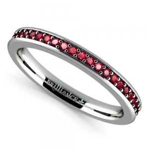 Pave Ruby Gemstone Ring in Platinum