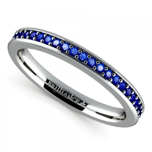 Pave Sapphire Ring in White Gold