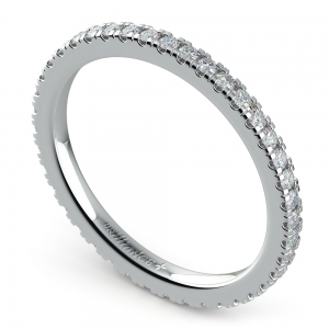 Petite Pave Diamond Eternity Ring in White Gold (1/2 ctw)