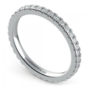Petite Pave Diamond Eternity Ring in White Gold (5/8 ctw)
