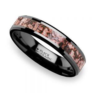 Pink Dinosaur Bone Inlay Wedding Ring In Black Ceramic (4mm)