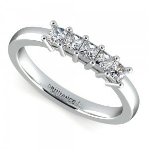 Princess Five Diamond Wedding Ring in White Gold (1/2 ctw) | Featured