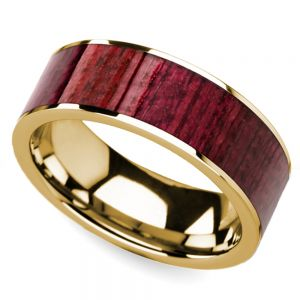 Purpleheart Wood Inlay Men's Wedding Ring in Yellow Gold