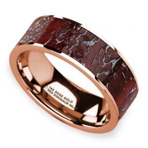 Red Dinosaur Bone Inlay Men's Wedding Ring in 14K Rose Gold