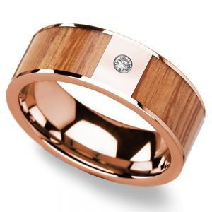 Red Oak Wood Inlay Men's Wedding Band in Rose Gold with Diamond Accent
