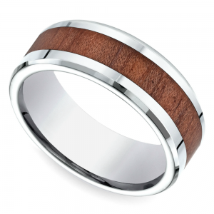 Rosewood Inlay Men's Wedding Ring in Cobalt