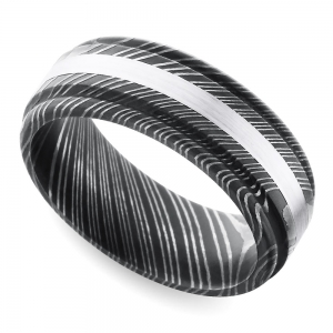 Rounded Edge White Gold Inlay Men's Wedding Ring in Damascus Steel