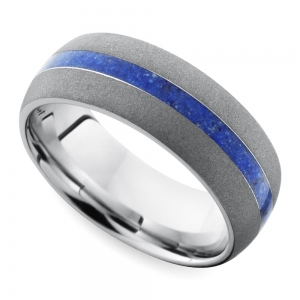 Sandblasted Domed Men's Wedding Ring with Lapis Inlay in Cobalt | Featured