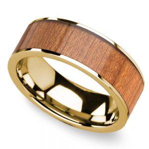 Sapele Wood Inlay Men's Flat Wedding Ring in Yellow Gold
