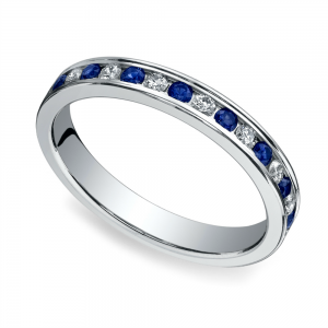 Diamond & Sapphire Eternity Ring in White Gold | Featured