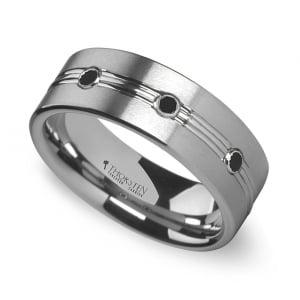 Satin Black Diamond Men's Wedding Ring in Tungsten