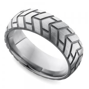Satin Finish Tire Tread Men's Wedding Ring in Titanium