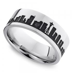 Seattle Skyline Men's Wedding Ring in Cobalt