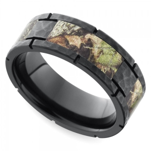 Segmented Camo Inlay Hammered Men's Ring in Zirconium | Featured