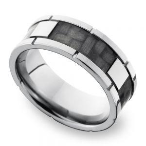 Segmented Carbon Fiber Inlay Men's Wedding Ring in Titanium (8mm)