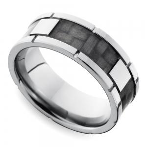 Segmented Carbon Fiber Men's Wedding Ring in Titanium