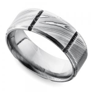 Segmented Men's Wedding Ring in Damascus Steel
