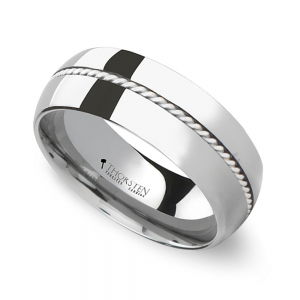 Silver Cable Inlay Men's Wedding Ring in Tungsten