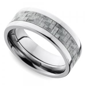 Silver Carbon Fiber Flat Men's Wedding Ring in Titanium