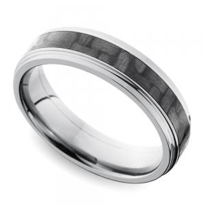 Step Edge Carbon Fiber Inlay Men's Wedding Ring in Titanium