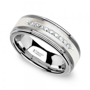 Step Edge Channel Set Men's Diamond Wedding Ring in Tungsten