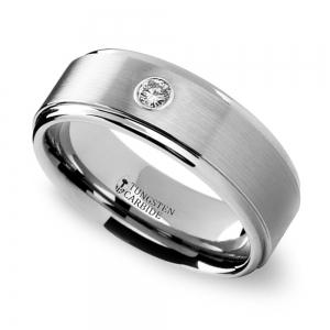 Step Edge Inset Diamond Men's Wedding Ring in Tungsten (8 mm)