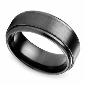 Step Edge Men's Wedding Ring in Black Titanium