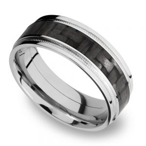 Stepped Edges Carbon Fiber Inlay Men's Wedding Ring with Milgrain Accent in 14K White Gold