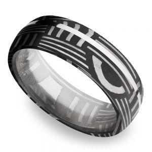 Sterling Silver Inlay Basketweave Men's Wedding Ring in Damascus Steel