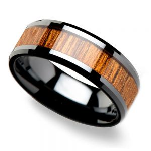 Teak Wood Inlay Men's Beveled Ring in Black Ceramic (8mm)