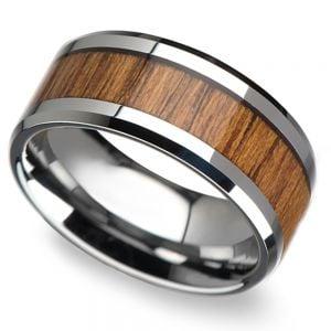 Teak Wood Inlay Men's Beveled Ring in Tungsten (10mm)