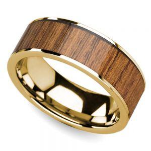 Teak Wood Inlay Men's Wedding Ring in Yellow Gold