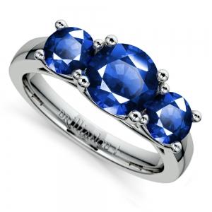 Trellis Three Sapphire Gemstone Ring in White Gold