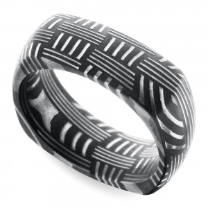 Woven Pattern Square Men's Wedding Ring in Damascus Steel