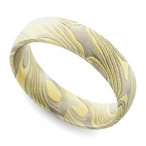Yellow Base Mokume Gane Comfort Fit Men's Wedding Ring | Featured