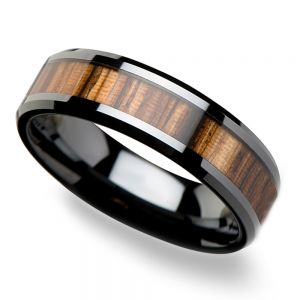Zebra Wood Inlay Men's Beveled Ring in Black Ceramic (6mm)