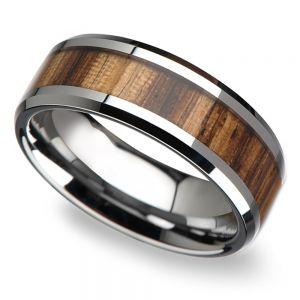 Zebra Wood Inlay Men's Beveled Ring in Tungsten (8mm)