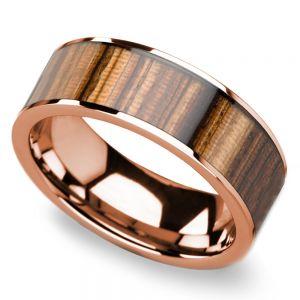 Zebra Wood Inlay Men's Flat Wedding Ring in Rose Gold