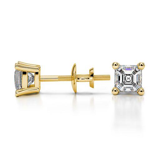 Asscher Diamond Stud Earrings in Yellow Gold (1/2 ctw) | Image 03
