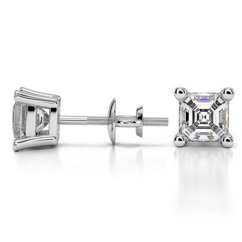 Asscher Diamond Stud Earrings in Platinum (1 1/2 ctw) | Image 03